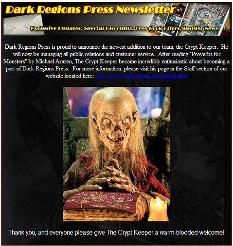 Dark Regions Press Newsletter Surprise
