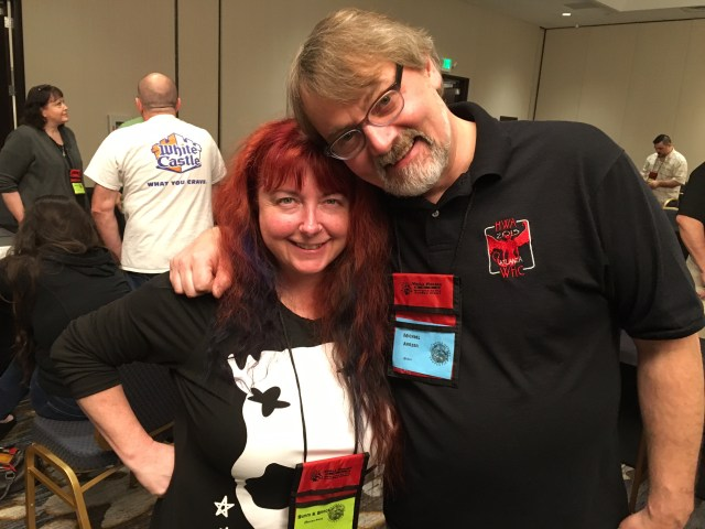 A moment with the wonderful Sunni Brock of JaSunni Productions. We shared a panel (along with her partner, Jason) on music later in the con that was very deep, and very good.