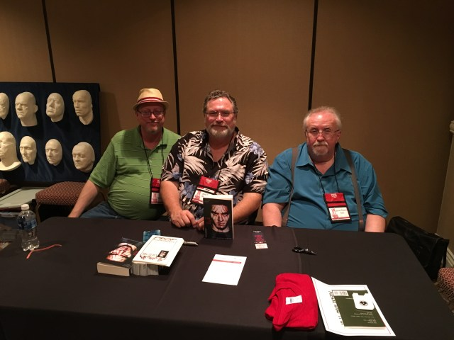 "Tim Waggoner, Jonathan Maberry, Steve Rasnic Tem at the ""Scary Out There"" book signing."