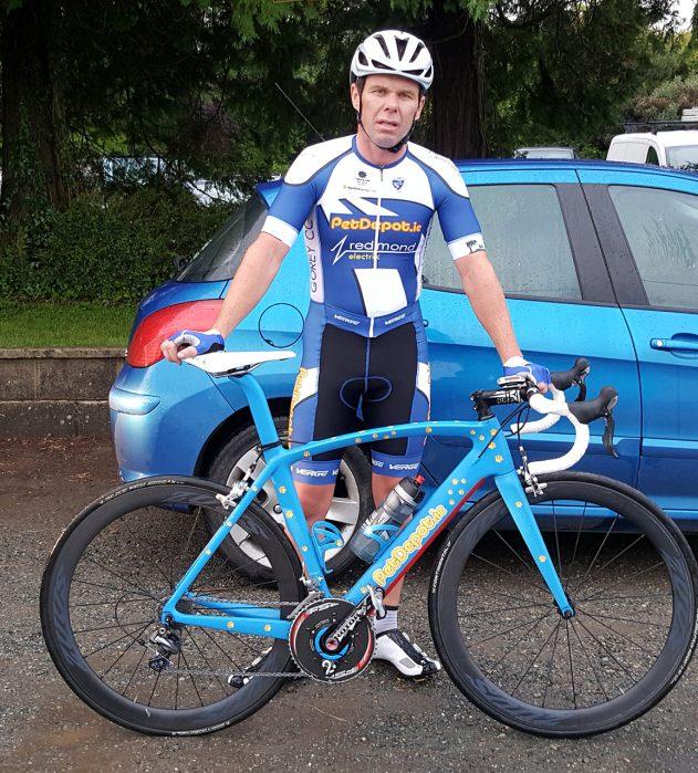 Joe Christian sporting his World Masters kit and custom painted championship bike