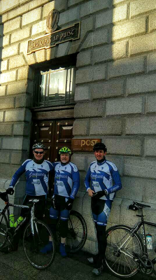 The 1916 Commemoration cyclists outside the GPO in Dublin