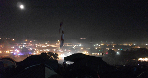 Glastonbury at night