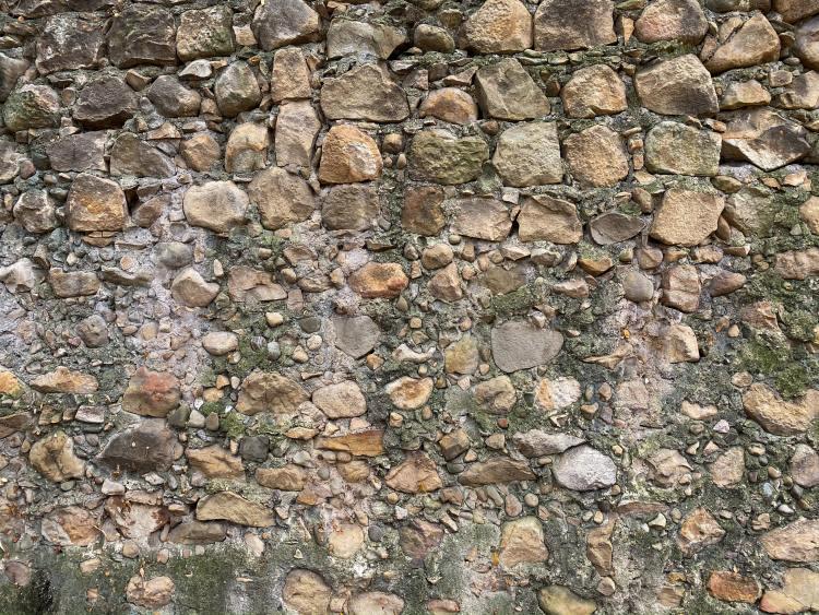 part of the original wall at Mission Santa Barbara