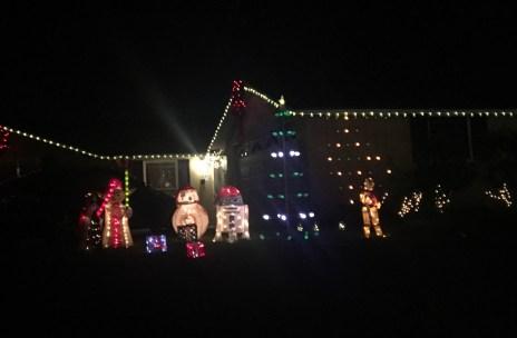 Star Wars Christmas Light Display at Upper Hasting Ranch in Pasadena, California,