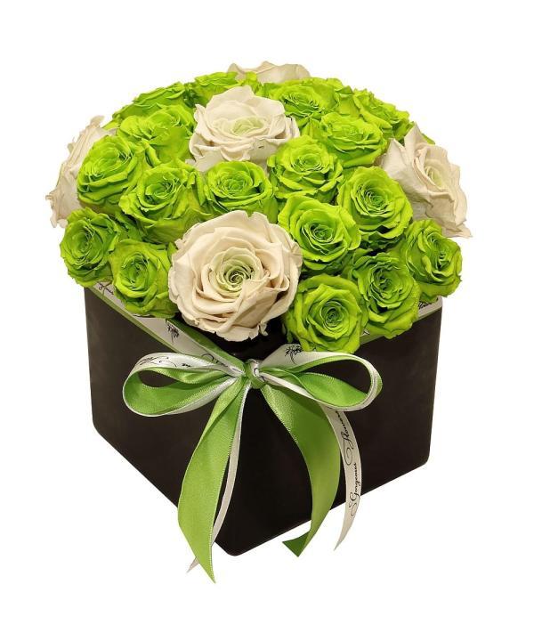 green roses arrangement, beautiful roses arrangement, custom forever roses order online,