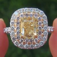 Natural Fancy Yellow & Pink Diamond Engagement Wedding 18k Ring