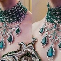 A Gorgeous Chopard Emerald and Diamond Necklace 18k White Gold