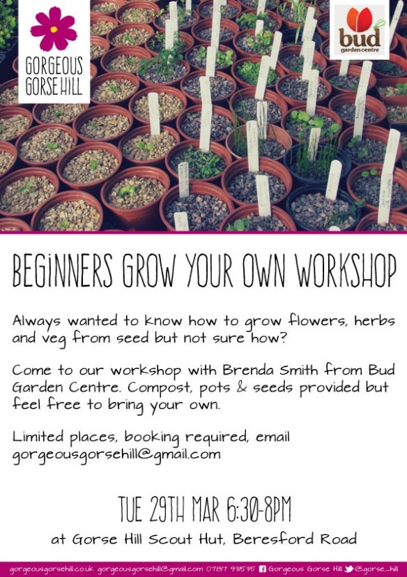 Beginner's grow your own workshop, Tues 29th March, 6.30pm, Gorse Hill Scout Hut
