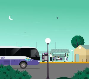 Cartoon illustration scene of a Columbia Gorge Express bus pulling up to a bus stop with 6 people waiting in the background. There is a large colorful green sky with a white moon and silhouettes of birds. We also see a tree, a building and two lampposts.