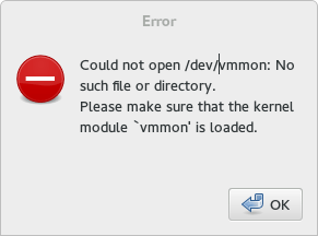 Error when trying to run VM:    Could not open /dev/vmmon: No such file or directory.    Please make sure that the kernel module `vmmon' is loaded.