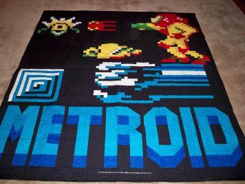 Metroid quilt video game Nintendo blanket craft Samus
