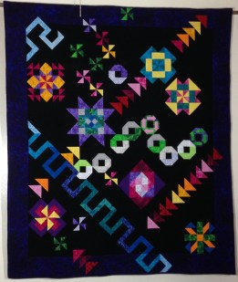 Block of the month BOM Stars Flying Geese quilt Bright colors Michael Miller black bouncing balls Snake Pinwheel
