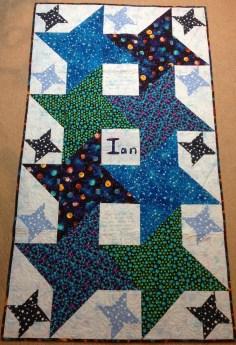 Star quilt 4-pointed stars interlocking stars planet galaxy kid quilt bright