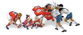 Una abierta o ruck en un partido de rugby