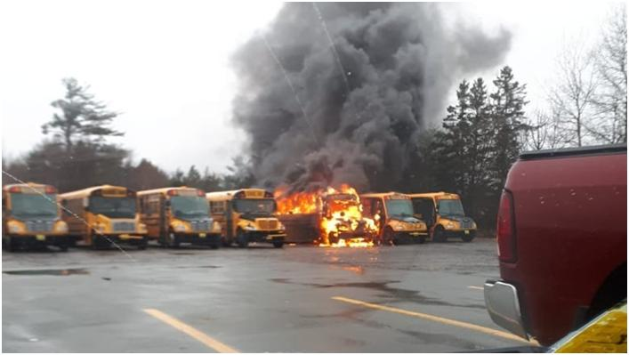 School Buses Catch Fire But Little Concern Because They Were Parked