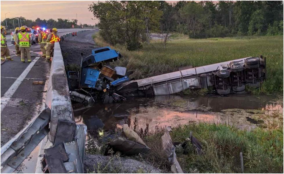 Tanker Truck Through Guardrail Shows Inadequacy of Roadside Barriers