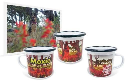 12oz enamel coffee mug with printed artwork of German Shepherd among flowers beside original photo