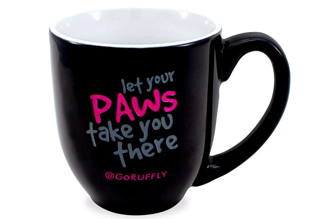"""RUFFLY's moto """"Let Your Paws Take You There"""" engraved and hand-painted on a ceramic mug"""