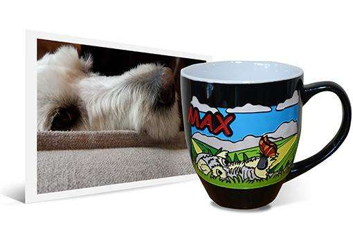14oz engraved and hand-painted ceramic latte coffee mug with personalized dog art based on photo