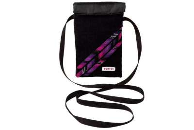 Minimalist, artisan-made small crossbody bag with handwoven pink and purple exterior with waterproof interior
