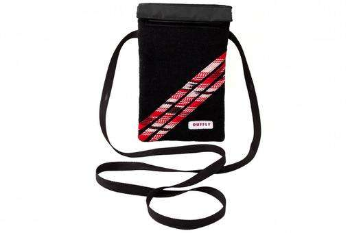 Leather-free mini crossbody bag in black and red that is made from colorfast handwoven cotton fabric with waterproof interior