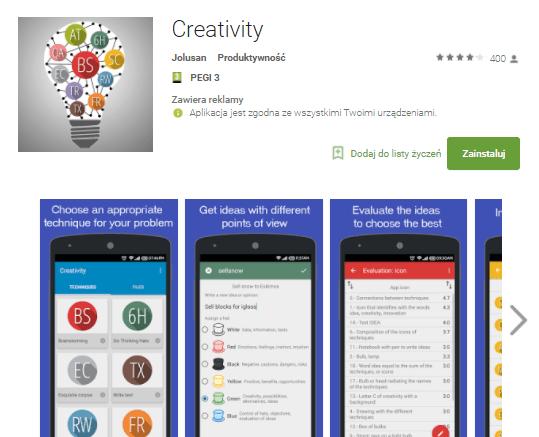 Creativity – apka do rozwijania pomysłów i rozwiązywania problemów w twórczy sposób