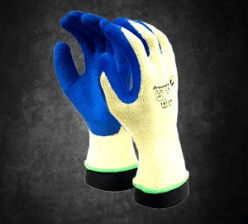 Ace Gripper Glove: The Gripper is a seamless poly cotton yellow shell that is palm dipped in a blue textured crinkled rubber