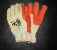 Crayfish Glove: A deep orange groove rubber laminated on 7gg cotton crochet liner.