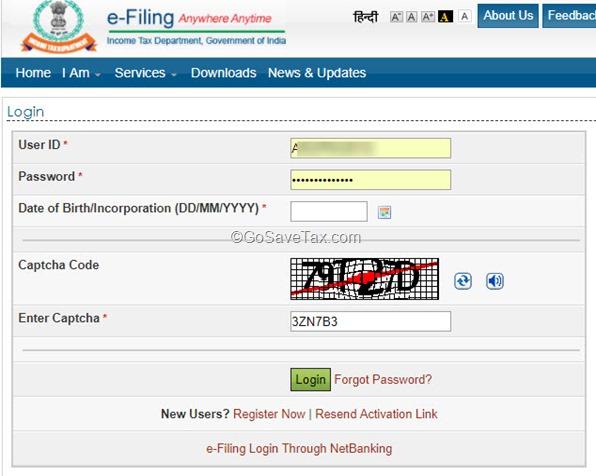 E-Filing Login ITR