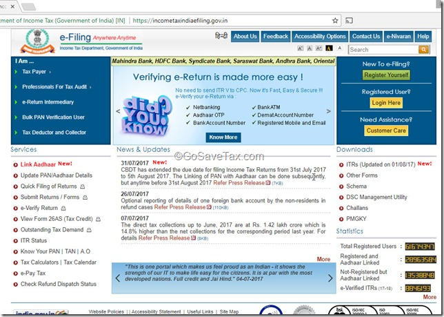 Income Tax India E-Filing Portal