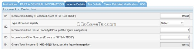 Income and Deduction Details ITR E-Filing