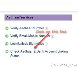 Check Aadhaar Bank Link Page