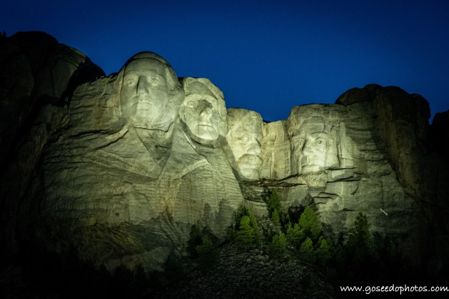 Mt. Rushmore lit up at night