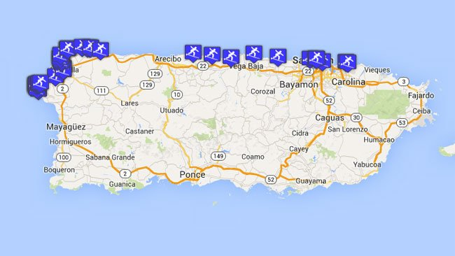 Map of puerto ricos surf spots with detailed locations gumiabroncs Images