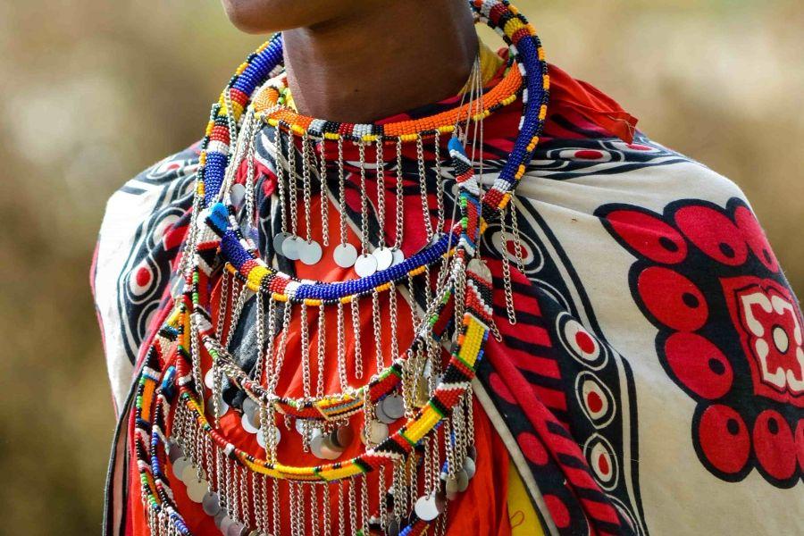 A masaai wearing tribal jewelry