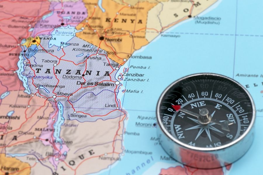 Map showing Tanzania with a compass