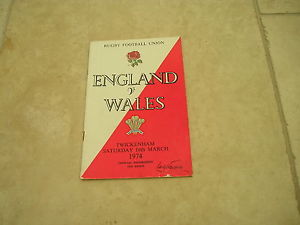 England v Wales Saturday 16th March 1974 Official Programme