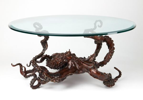 Octopus steampunk glass table 1