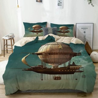 Duvet Cover Set Beige,Surreal Sky Scenery with Steampunk Airship Fairy Sci Fi Stardust Space,Decorative 3 Piece Bedding Set King Size with 2 Pillow Shams Easy Care Anti-Allergic Soft Smooth