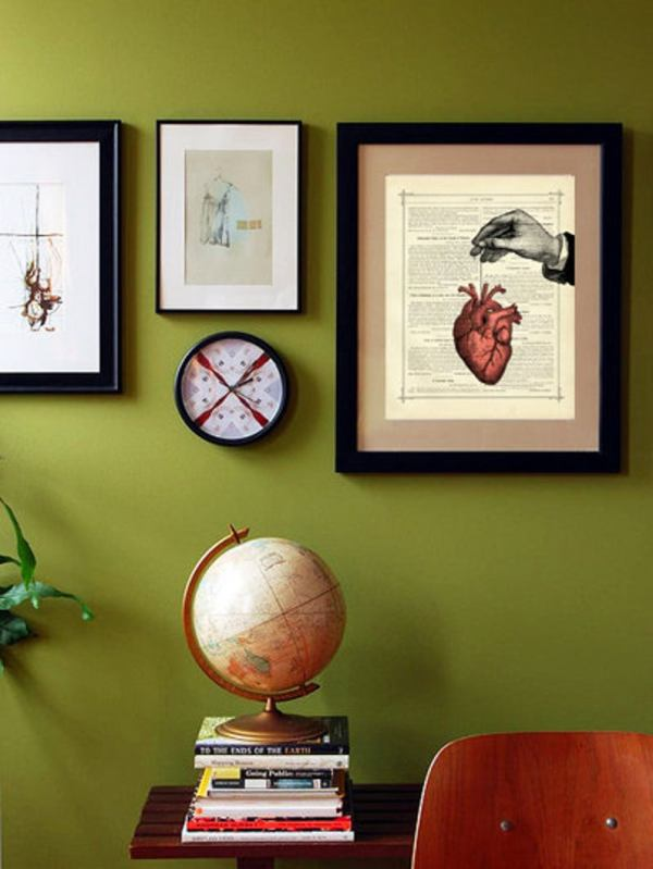 Your Heart On A String Book Art Print. framed on wall