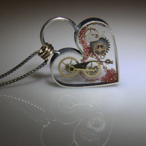 Clockwork Steampunk Heart Necklace with Sterling Silver Frame.