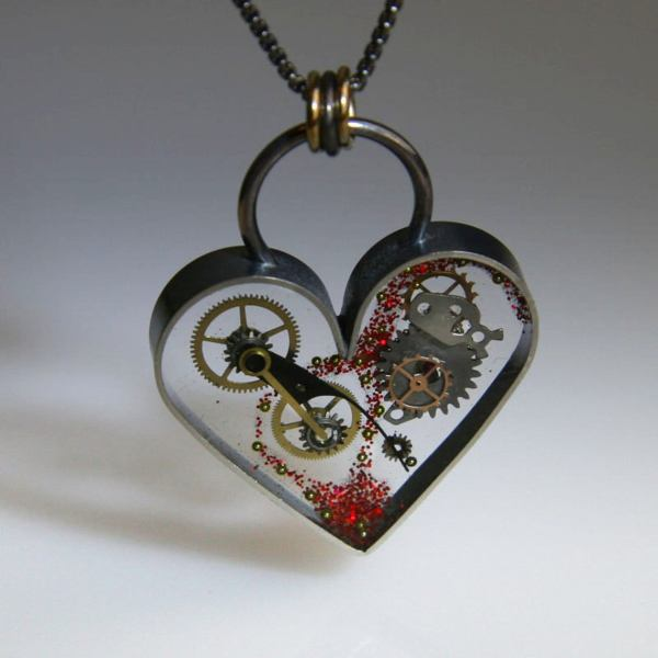 Clockwork Steampunk Heart Necklace with Sterling Silver Frame. 4