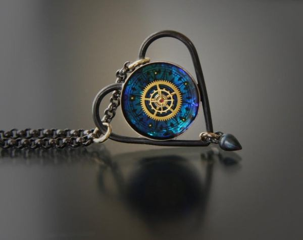 Small Clockwork Steampunk Heart Choker Necklace by Jackie Taylor. 1