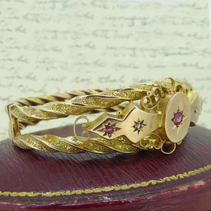 Victorian Ruby and Diamond Bangle in 9 Carat Gold 2