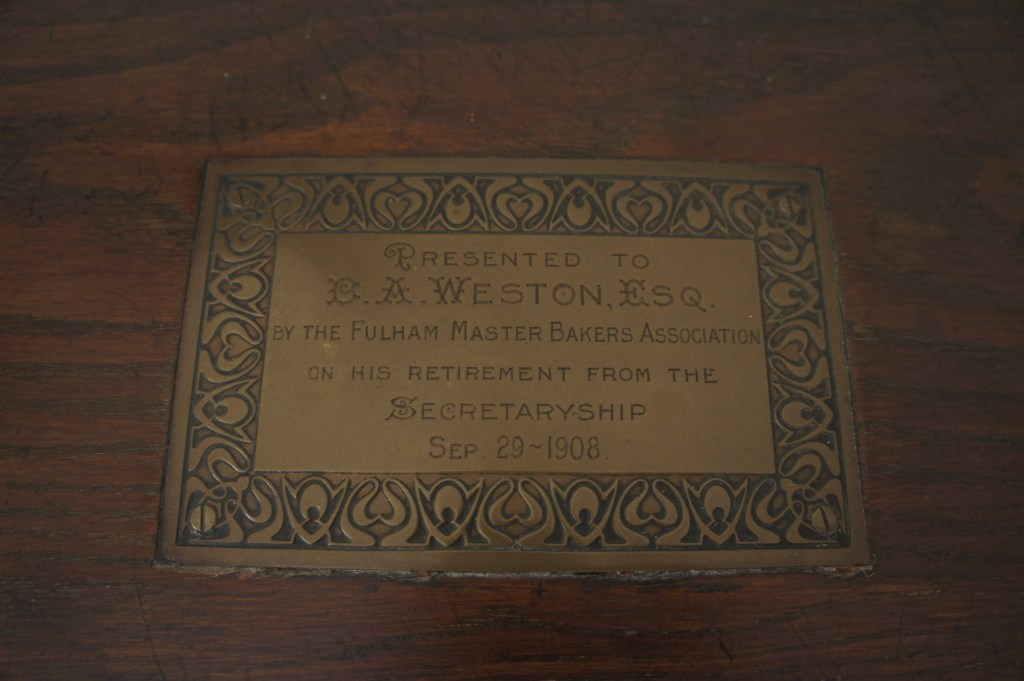 Roll top desk presentation plaque