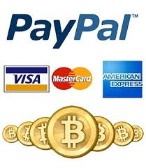 payment methods - bitcoin, paypal, credit card
