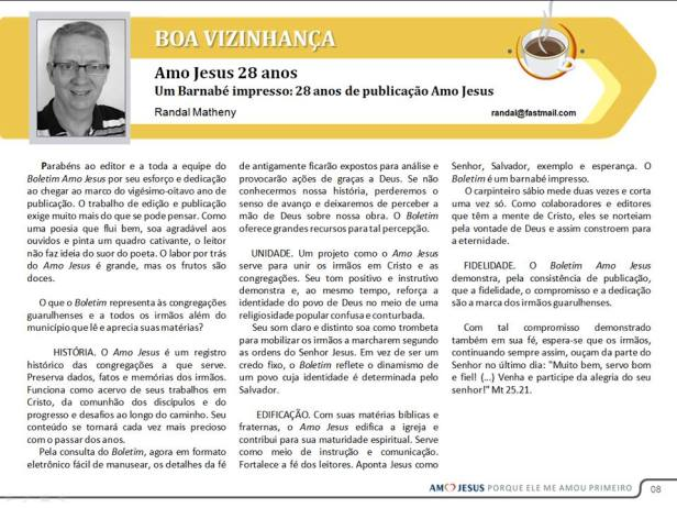 """My article for the May issue of """"Amo Jesus"""""""