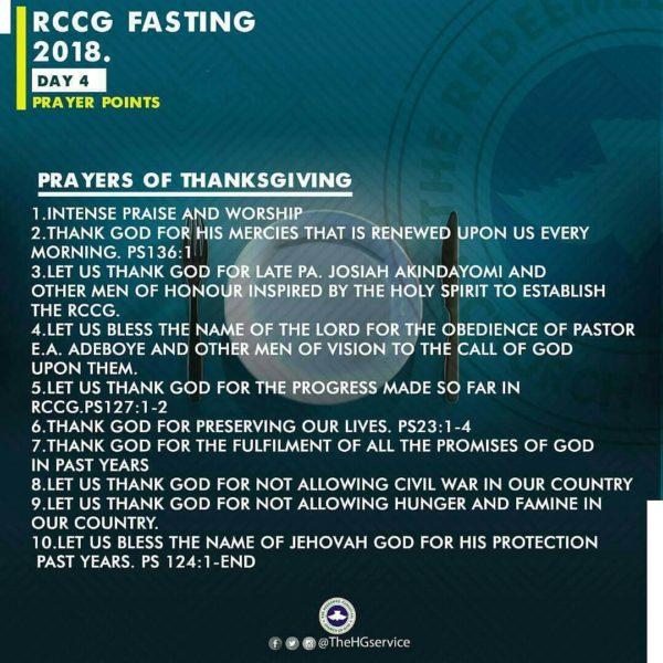 RCCG 2018 Fast: Day 4 Prayer Points   RCCG 80 Days Fasting