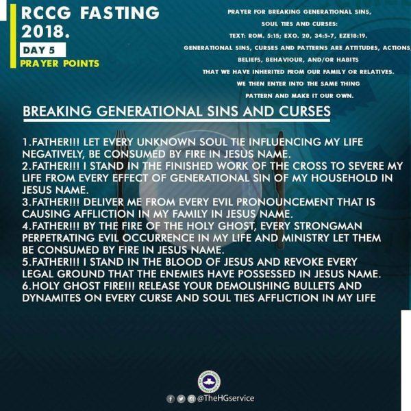 RCCG 2018 Fast: Day 5 Prayer Points | RCCG 80 Days Fasting & Prayer
