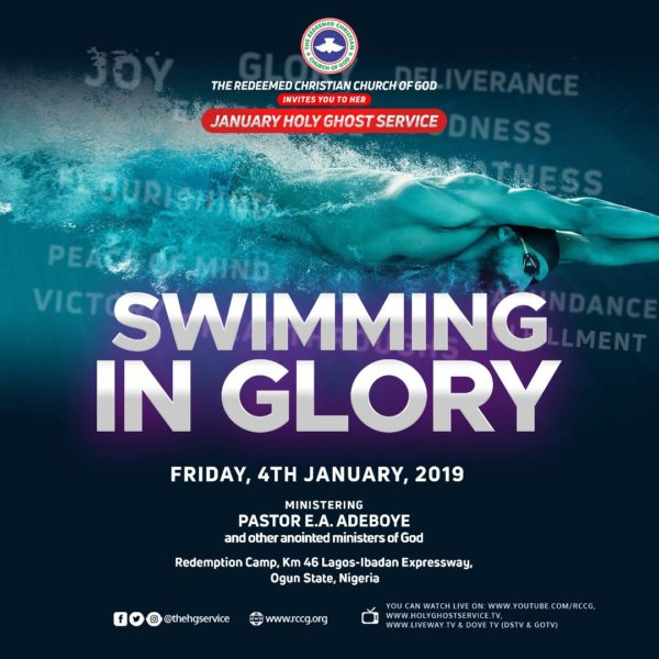 """Swimming-In-Glory [EVENT] RCCG January 2019 Holy Ghost Service » Theme: """"Swimming In Glory"""""""